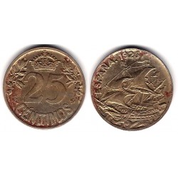Alfonso XIII. 1925. 25 Céntimos (BC-) Ceca de Madrid PC-S