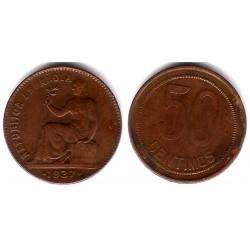 España (II República). 1937*(3-6). 50 Céntimos (MBC) Variante