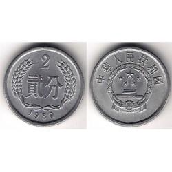 (2) China. 1989. 2 Fen (EBC)