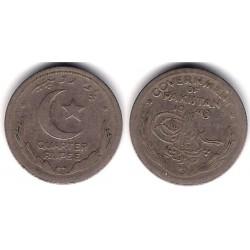 (5) Pakistán. 1948. Quarter Rupee (MBC)