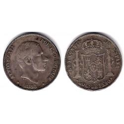Alfonso XII. 1883. 50 Centavos (MBC-) (Plata) Ceca de Manila
