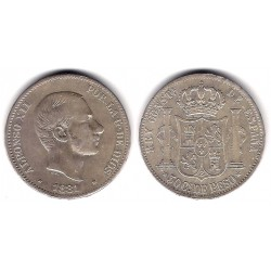 Alfonso XII. 1881. 50 Centavos (MBC+) (Plata) Ceca de Manila