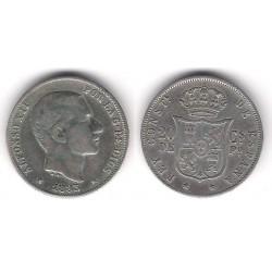 Alfonso XII. 1883. 20 Centavos (MBC-) (Plata) Ceca de Manila