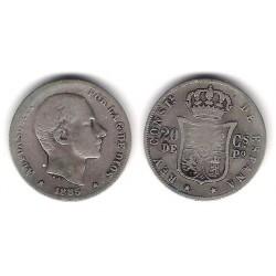 Alfonso XII. 1885. 20 Centavos (MBC-) (Plata) Ceca de Manila