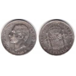 Alfonso XII. 1885*(18-86). 5 Pesetas (BC) (Plata) Ceca de Madrid MS-M