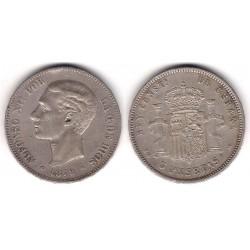 Alfonso XII. 1879*(18-79). 5 Pesetas (BC+) Ceca de Madrid EM-M