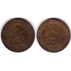 Gobierno Provisional. 1870. 10 Céntimos (BC-) Ceca de Barcelona OM