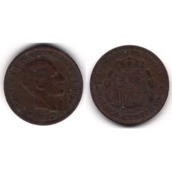 Alfonso XII. 1877. 5 Céntimos (BC+) Ceca de Barcelona OM