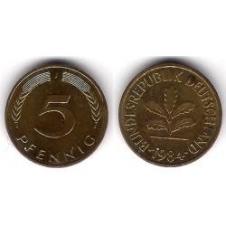 (107) Alemania. 1984(J). 5 Pfennig (MBC)