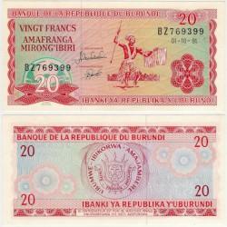 (27c) Burundi. 1991. 20 Francs (SC)