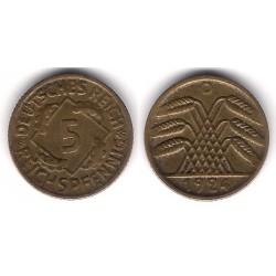 (39) Imperio Alemán (Weimar). 1924(A). 5 Pfennig (EBC)