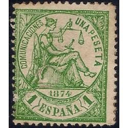 (150) 1874. 1 Peseta. Alegoría de la Justicia (Usado, con rotura)