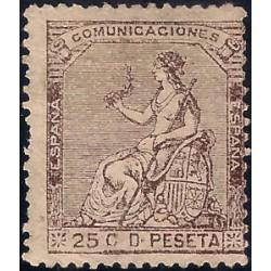 (135) 1873. 25 Céntimos. Alegoría de España (Nuevo, sin goma)