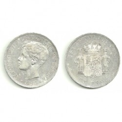 Alfonso XIII. 1897. 1 Peso (MBC) (Plata) Ceca de Manila SG-V