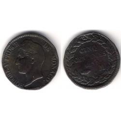 (95.2) Mónaco. 1837. 5 Centimes (MBC-)