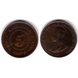 (14) Mauricio. 1921. 5 Cents (BC+)