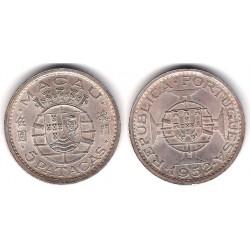 (5) Macao. 1952. 5 Patacas (SC) (Plata)
