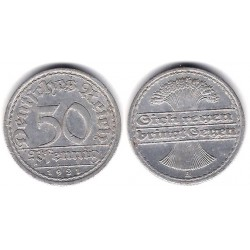(27) Imperio Alemán (Weimar). 1921(A). 50 Pfennig (MBC+)