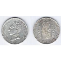 Alfonso XIII. 1905*(19-05). 2 Pesetas (EBC) (Plata) Ceca de Madrid SM-V