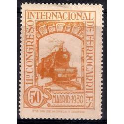 (478) 1930. 50 Céntimos. XI Congreso Ferrocarriles (Nuevo, con marca de fijasellos)