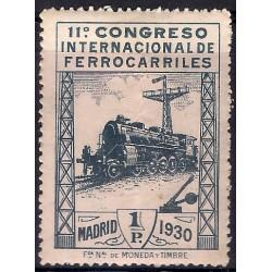 (479) 1930. 1 Peseta. XI Congreso Ferrocarriles (Nuevo, con marca de fijasellos)