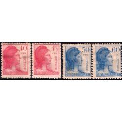 (751 a 754) 1938. Serie Completa. Alegoría de la República (Nuevo, con marca de fijasellos)