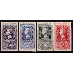 (1075 a 1078) 1950. Serie Completa. Centenario del Sello Español (Nuevo, con marca de fijasellos)