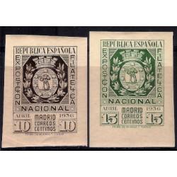 (727 a 728) 1936. Serie Completa. Exp. Filatélica de Madrid (Nuevo, con marca de fijasellos)
