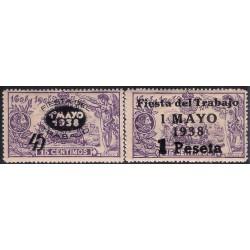 (761 a 762) 1938. Serie Completa. Fiesta del Trabajo (Nuevo, con marca de fijasellos)