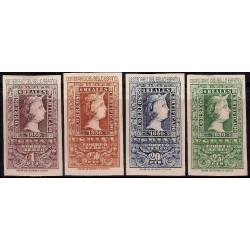 (1079 a 1082) 1950. Serie Completa. Centenario del Sello Español (Nuevo, con marca de fijasellos)