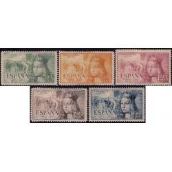 (1097 a 1101) 1951. Serie Completa. V Cent. Nacimiento Isabel la Católica (Nuevo, con marca de fijasellos)