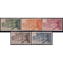 (1111 a 1115) 1952. Serie Completa. V Cent. Nacimiento Fernando el Católico (Nuevo, con marca de fijasellos)