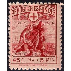 (767) 1938. 45 Céntimos + 5 Pesetas. Cruz Roja Española (Nuevo, con marca de fijasellos)