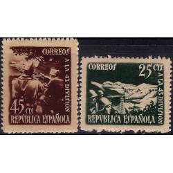 (787 a 788) 1938. Serie Completa. Homenaje 43 División (Nuevo, con marca de fijasellos)