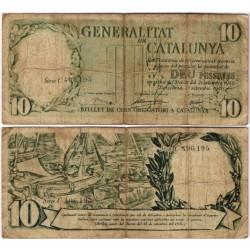 Generalitat de Catalunya. 1936. 10 Pesetas (RC) Serie C. Pequeñas Roturas