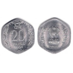 (44) India. 1991. 20 Paise (SC)