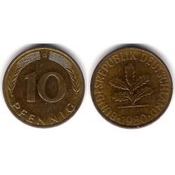 (108) Alemania. 1980(G). 10 Pfennig (MBC+)