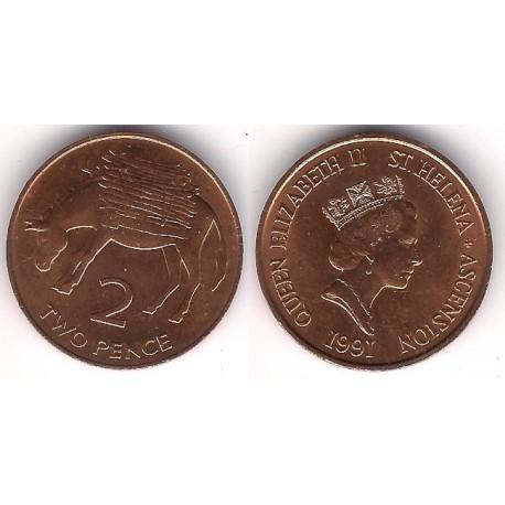 (12) Santa Helena & Ascensión. 1991. 2 Pence (EBC+)