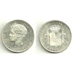 Alfonso XIII. 1899*(18-99). 5 Pesetas (EBC) (Plata) Ceca de Madrid SG-V