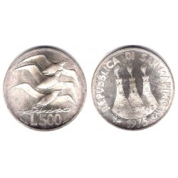 (47) San Marino. 1975. 500 Lira (SC) (Plata)