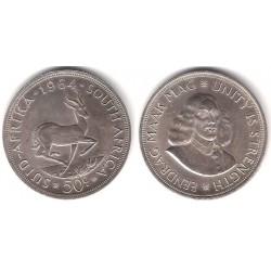 (62) Sudáfrica. 1964. 50 Cents (EBC+) (Plata)