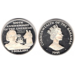 (139) Bahamas. 1991. 5 Dollars (Proof) (Plata)