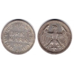 (43) Imperio Alemán (Weimar). 1924(J). 3 Mark (MBC) (Plata)