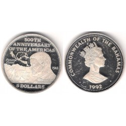 (149) Bahamas. 1992. 5 Dollars (Proof) (Plata)