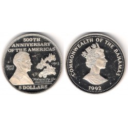 (148) Bahamas. 1992. 5 Dollar (Proof) (Plata)
