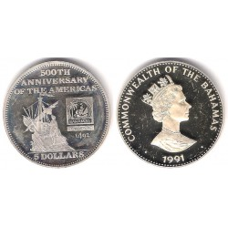 (140) Bahamas. 1991. 5 Dollars (Proof) (Plata)