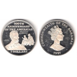 (145) Bahamas. 1991. 5 Dollars (Proof) (Plata)