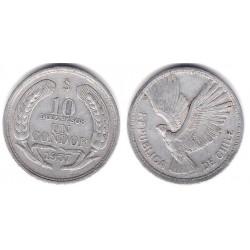 (181) Chile. 1957. 10 Pesos (MBC+)
