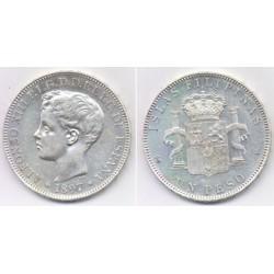 Alfonso XIII. 1897. 1 Peso (EBC) (Plata) Ceca de Manila SG-V