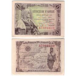 Estado Español. 1945. 1 Peseta (EBC+) Serie A